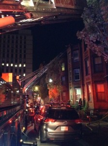 The Boston Fire Department responding to a fire at 27 and 29 Wigglesworth St. (Photo Courtesy Boston Fire Department)