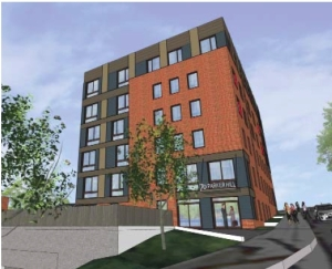 An illustration of the 70 Parker Hill Ave. building after its proposed renovation, as seen in the developers' Boston Redevelopment Authority filing. (Courtesy Image)